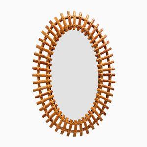 Ovaler Spiegel mit Rahmen aus Bambus, 1950er