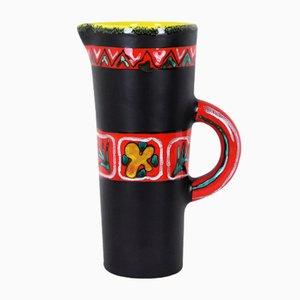 Schwarze Vase aus Keramik von Gabriel Fourmentin, 1950er