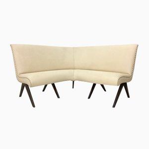 Ivory Skai and Wood Corner Sofa, 1950s