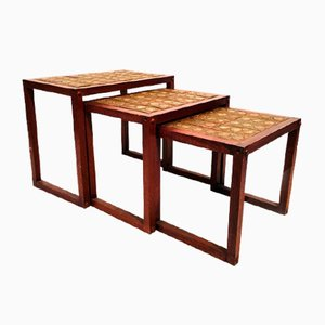 Nesting Tables in Teak and Ceramic, 1970s