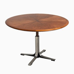 Mid-Century Adjustable Round Walnut Veneer Table