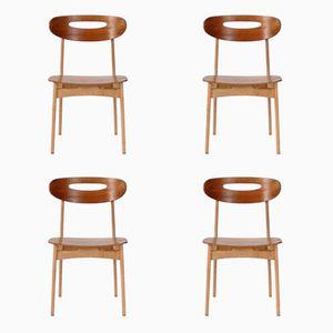 Danish Oak & Teak Dining Chairs, 1950s, Set of 4