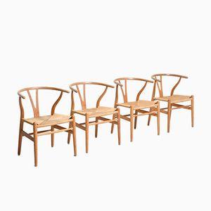 Eichenholz Wishbone Stühle von Hans J. Wegner für Carl Hansen, 4er Set