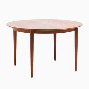 Mid-Century Danish Round Extendable Teak Dining Table
