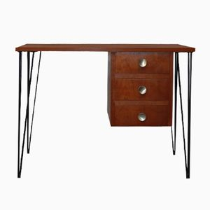 Vintage Teak Desk on Hairpin Legs, 1960s