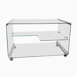 Clear Glass Bar Cart from Gallotti & Radice, 1980s