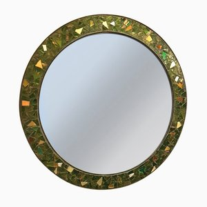 Round Brass & Molten Glass Mosaic Framed Mirror, 1950s