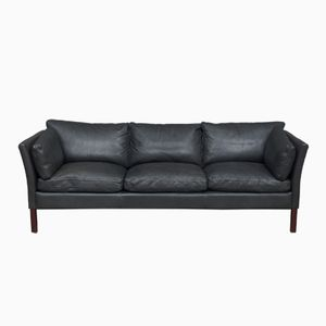 Vintage Black Leather Sofa from Stouby
