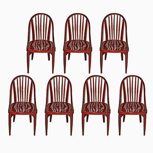 Mahogany Chairs by Josef Hoffmann for Thonet, Set of 7