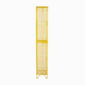 Vintage Industrial Yellow Metal Wire Locker