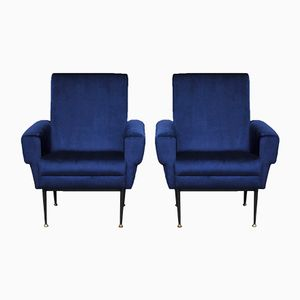 Parisian Blue Velvet Armchairs, 1960s, Set of 2