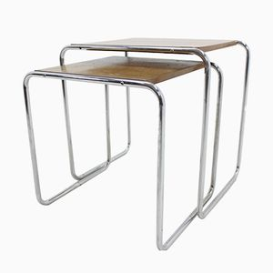 Bauhaus Chromed B9 Tables by Marcel Breuer, 1930s, Set of 2