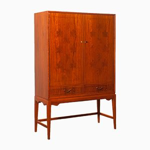 Chestnut Veneered Bar Cabinet by Ferdinand Lundquist, 1940s