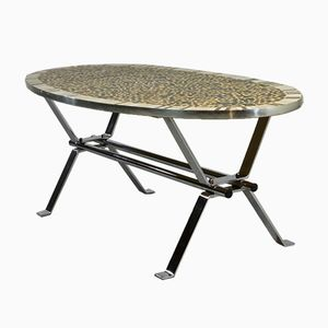 Mid-Century Gold Leaf Mosaic Chrome Coffee Table, 1960s