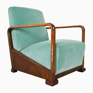 Vintage Art Deco Sessel aus Ulmenholz & Samt