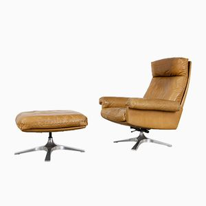 DS 31 Highback Swivel Lounge Chair & Ottoman from de Sede, 1970s