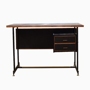 Mid-Century Italian Leather and Metal Desk, 1950s