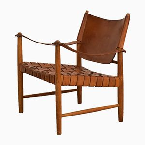 Mid-Century Leather Safari Chair, 1950s