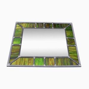 Vintage Spiegel mit Leuchtendem Grünen Glas Rahmen