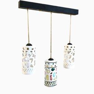 Italienische Keramik & Messing Deckenlampe, 1950er