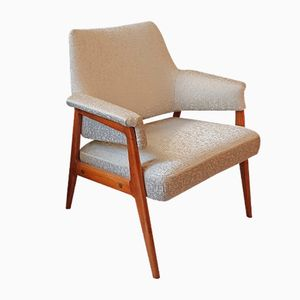 Small Vintage Armchair in Light Wood & Blue Fabric