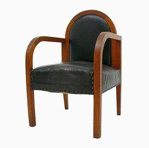 Vintage Wood & Leather Armchair