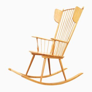 Mid-Century Wingback Rocking Chair by Albert Haberer for Hermann Fleiner