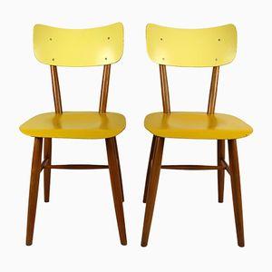 Vintage Stühle in Gelb & Creme von TON, 1960er, 2er Set