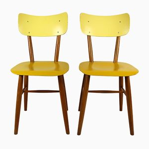 Vintage Yellow & Cream Chairs from TON, 1960s, Set of 2