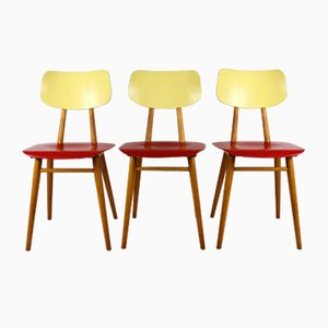Vintage Red & Cream Chairs from TON, 1960s, Set of 3