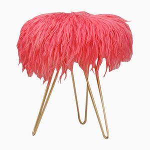 Vintage Dreibein Hocker aus Lammwolle in Pink