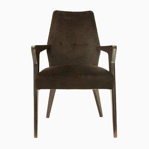 Brown Velvet Armchair, 1960s