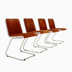 Italian Chrome & Suede Dining Chairs, 1970s, Set of 4