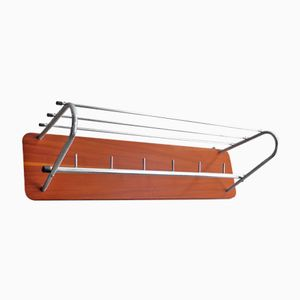 Vintage Coat Rack in Chrome and Wood