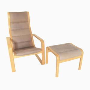 Lamello Lounge Chair with Ottoman by Yngve Ekström for Swedese, 1980s