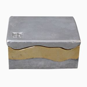 Brutalist Brass and Aluminum Box by David Marshall, 1970s