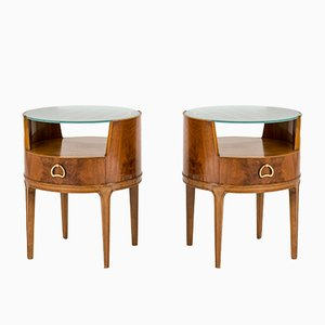 Mahogany & Glass Side Tables by Axel Larsson for Bodafors, 1940s, Set of 2