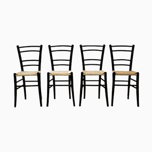 Vintage Schwarzholz Stühle von Cassina, 4er Set