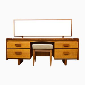 Mid-Century Teak Dressing Table and Stool from White and Newton