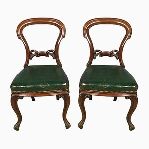 Victorian Chairs in Mahogany and Leather, Set of 2