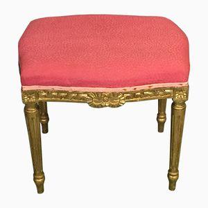 Antiker Hocker im Louis XVI Stil aus Vergoldetem Holz