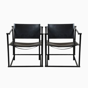 Kubische FM62 Leder Sessel von Radboud van Beekum für Pastoe, 1980er, 2er Set