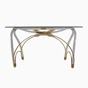 Lucite, Gold Plated, & Glass Console Table, 1970s