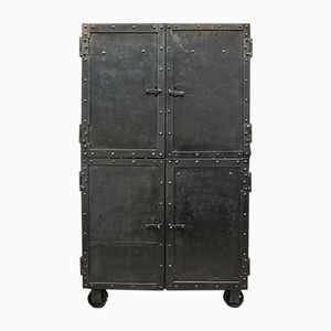 Industrial Riveted Steel Cabinet on Wheels, 1900s