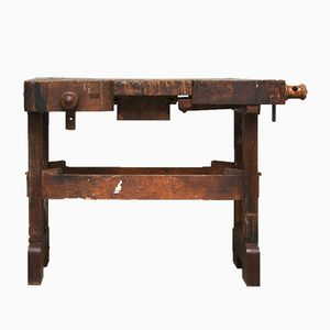 Small Vintage Hungarian Oak Carpenter's Workbench, 1930s