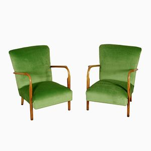 Velvet Armchairs in Beech with Spring Padding, 1950s, Set of 2