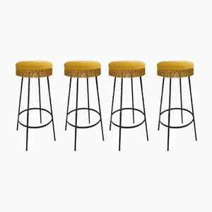 Vintage Barstools in Velours, Set of 4
