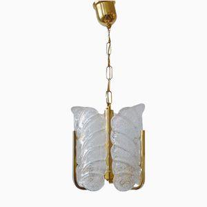 Hängelampe aus Glas & Messing von Carl Fagerlund für Orrefors, 1960er