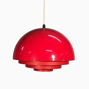 Red Metal Lamp from Fog & Morup, 1960s