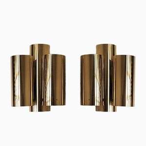 Brass Sconces by Svend Aage Holm Sørensen for Holm Sørensen & Co, 1960s, Set of 2